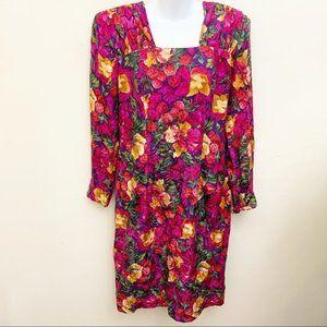 VG Liz Claiborne Long Sleeve Dress Silk Floral 10